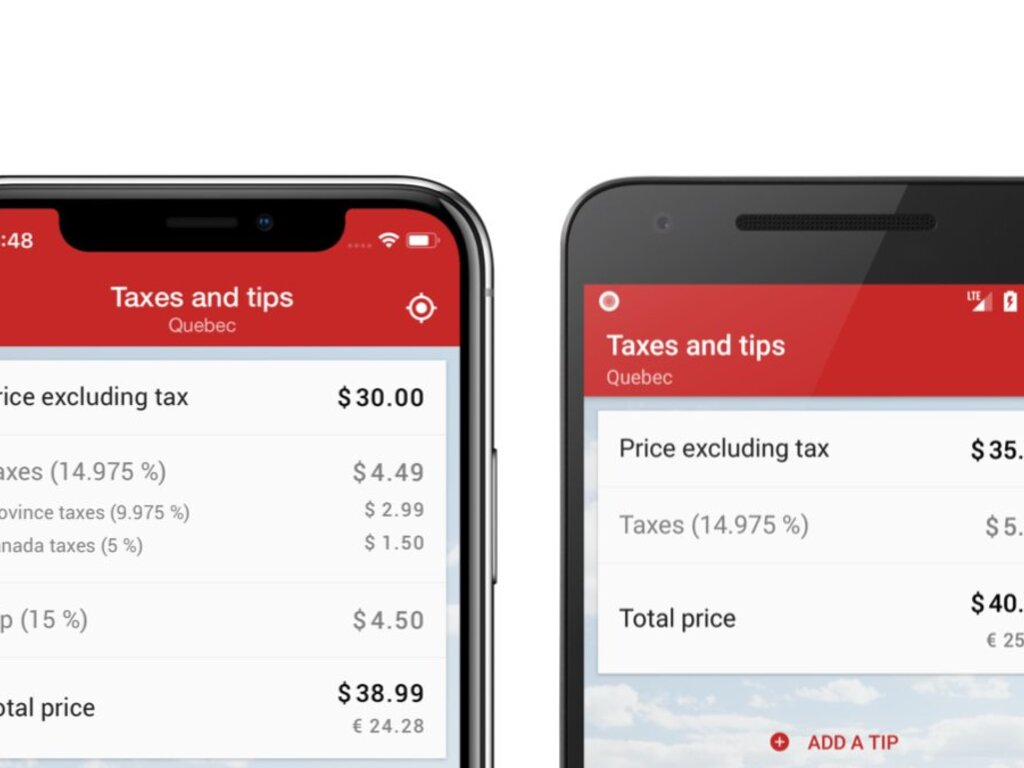 Taxes and tips in Canada