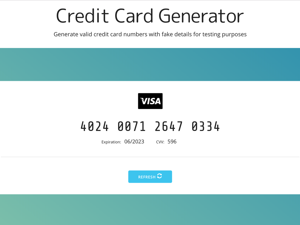 Credit Card Generator for sale on IndieMaker