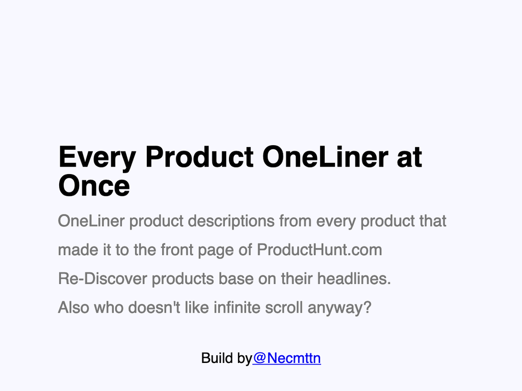 Every Product Oneliner at Once