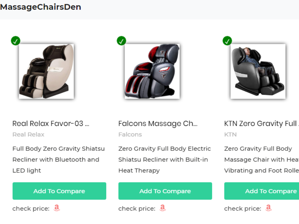 Comparison Website to compare massage chairs