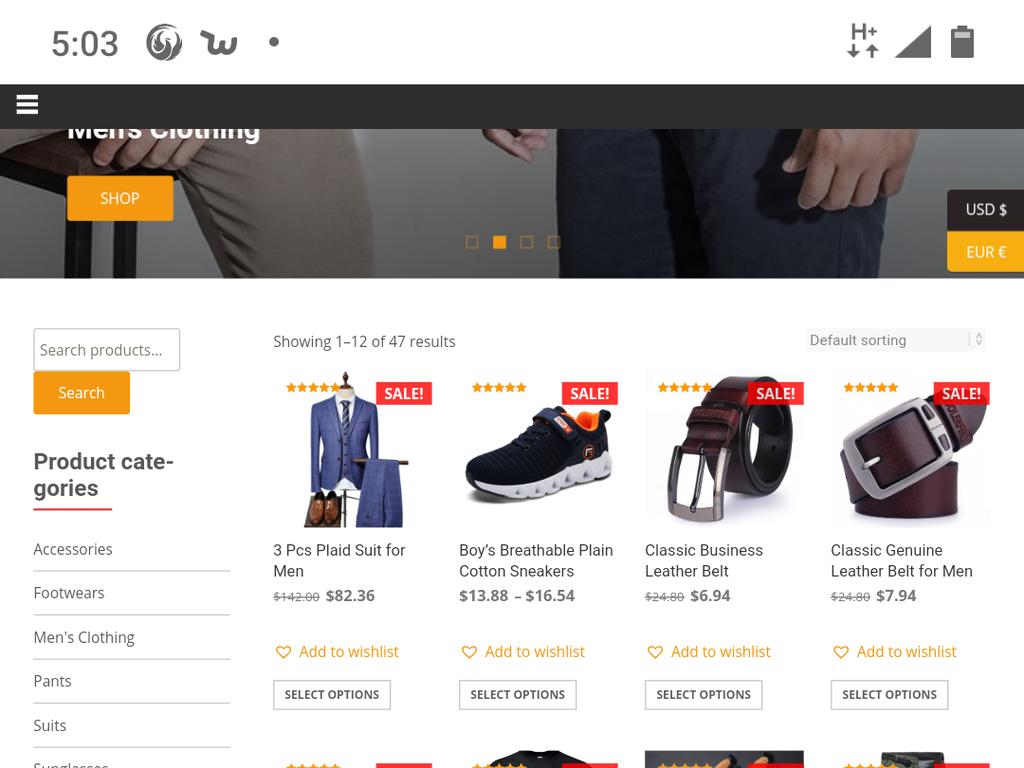 Men's online clothing store