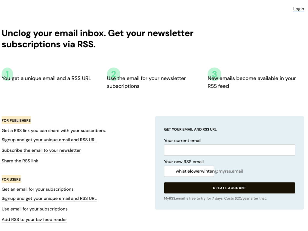 MyRss email