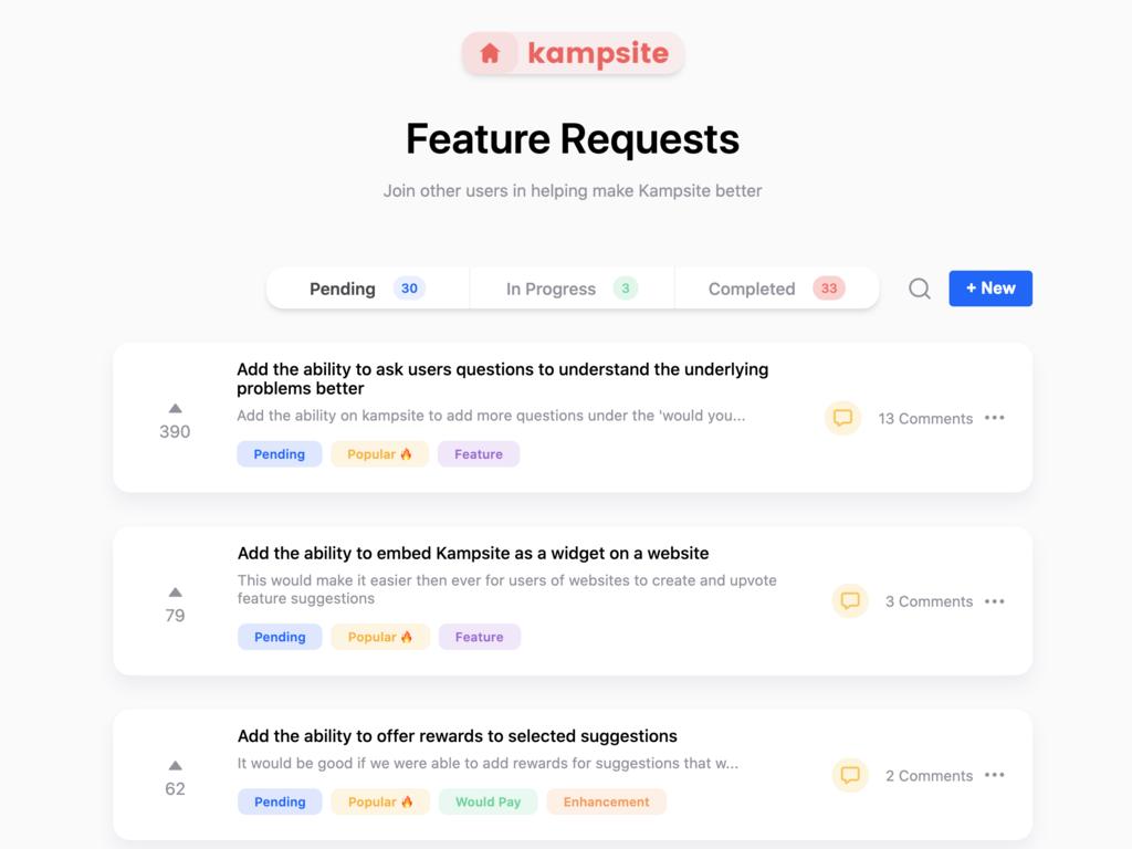 Kampsite | product and user feedback tool