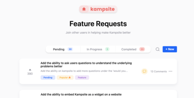 Kampsite | product and user feedback tool