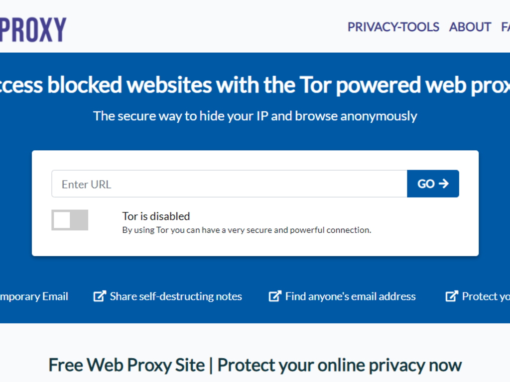 Web Proxy Connecting to Tor