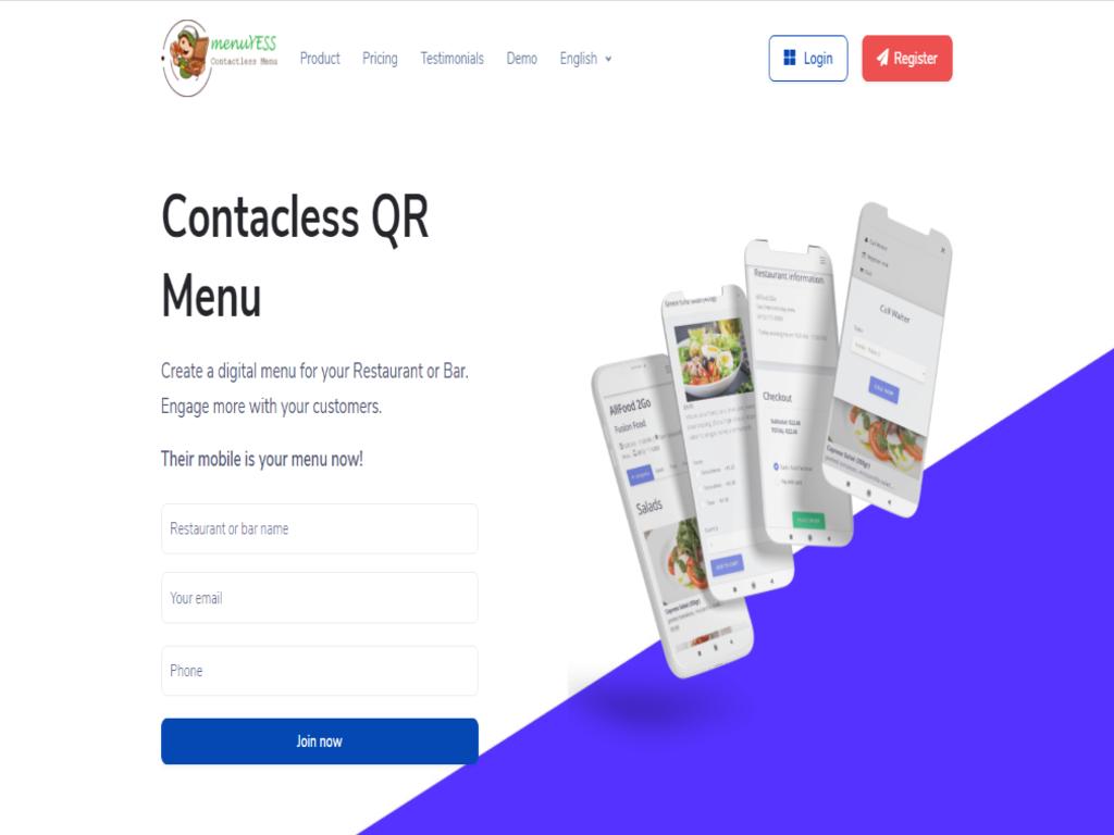 Restaurants Contactless Menu Platform like UberEats/DoorDash