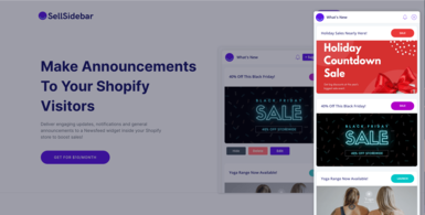 Promotion and Announcement Newsfeed for Ecommerce SaaS