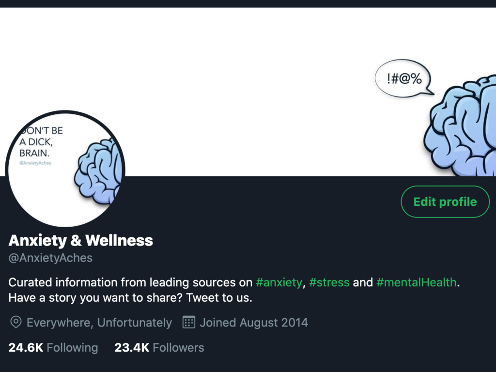 Anxiety & Wellness Twitter Account