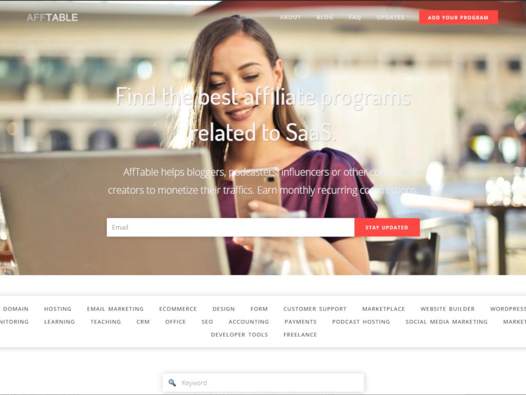 Affiliate Program Database for SaaS Businesses