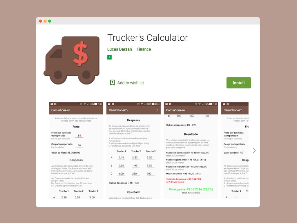 Android App Finance Calculator for Truckers