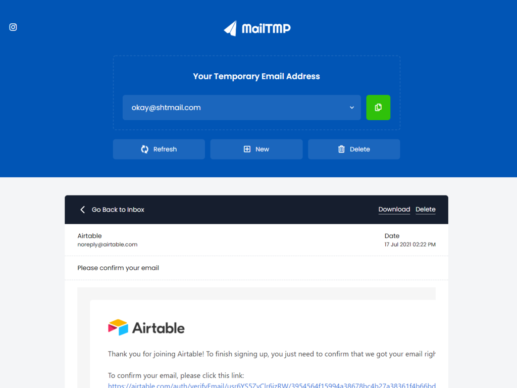 Free Temporary Email Service
